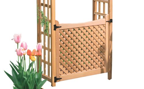 Arboria Arbor Gate Cedar Wood With Lattice and Designer Hinges - Arbor With Gate