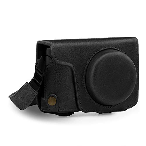 Megagear MG1435 Panasonic Lumix DC-ZS200, TZ200 Ever Ready Genuine Leather Camera Case and Strap, Black