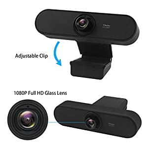 Yilador YL450 Webcam 1080P Full HD with Noise Cancelling Microphone, High Definition Web Camera, Skye Webcams Wide Angle for PC Computer Latop Desktop, Compatible with Mac OS X and Windows 10, 8, 7