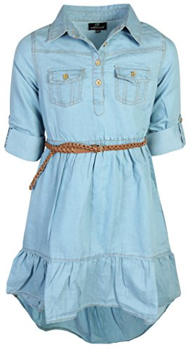 dollhouse Girls Belted Denim High-Low Chambray Dress, Light, Size 7/8'
