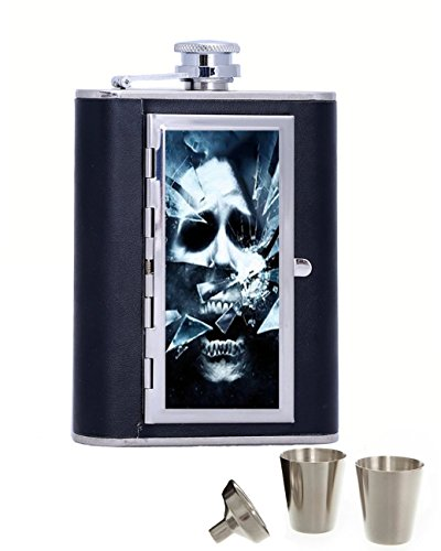 Halloween Final Destination Custom Fashion Personalization 6oz Leather Hip Flask with Cigarette Case Gift Box ()