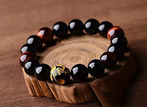 Mkxiaowei Natural Black Agate Bracelet Carving Dragon Beads with red Tiger Eye Stone Hand String Men's Atmosphere Hand String