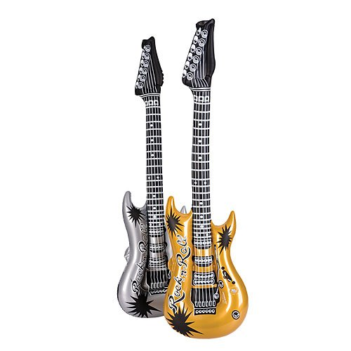 Gold and Silver Inflatable Rock Guitar Package of 12 - Silver Inflatable Guitar