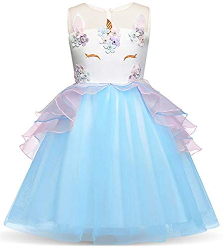 Toddler Flower Girl Unicorn Costume Dress Ruffles Party Wedding Princess Dress -