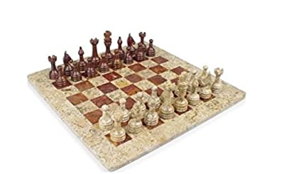 Traditional Classic Handmade Square Park Deluxe Marble Chess Set