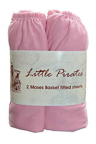 2 pack Baby Pram/Moses Basket Oval Jersey Fitted Sheet 100% Cotton Pink 12'x30' - Little Bassinet