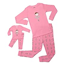 """Leveret """"Ballerina"""" Matching Little Girl & Doll 2 Piece Pajama 100% Cotton 2T-10Y"""