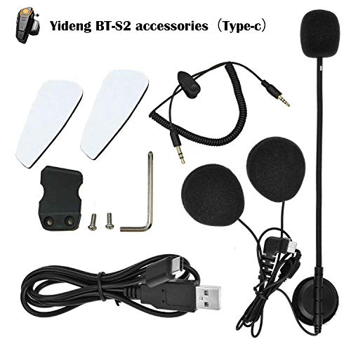(Yideng BT-S2 Motorcycle Intercom Accessories. Type-C Interface Earphone Microphone Audio Cable Charger Cable Mounting Clip Velcro Kits)