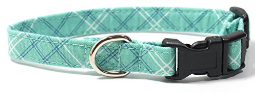 Seafoam Plaid, Teal, Green, Blue Tartan Designer Dog Collar, Adjustable Handmade Fabric Collars (XS)