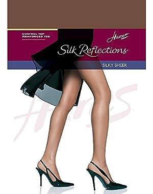 Hanes Silk Reflections Silky Sheer Control Top RT 1 Pair, AB-Gentlebrown