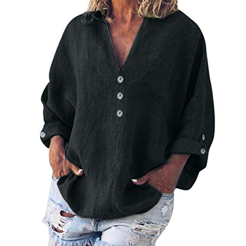 - TUSANG Women Tees Fashion Plus Size Solid Casual Linen V-Neck Button Blouse T-Shirt Loose Flowy Comfy Tunic(A-Black,US-4/CN-S)
