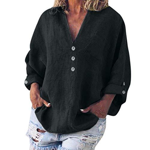 Linen V-Neck Button Blouse Women Fashion Plus Size Solid Casual T-Shirt