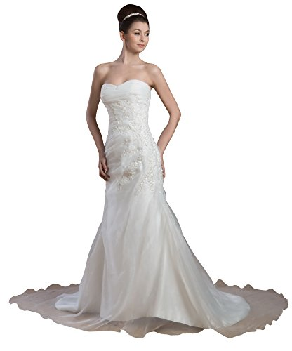 Vogue007 Womens Strapless Pongee Satin Wedding Dress, ColorCards, 16 by Unknown