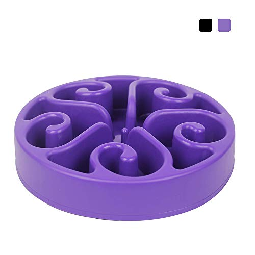 GRULLIN Slow Feeder Dog Bowl, Non Toxic Eco-Friendly Interactive Fun Puzzle Dish with Non Skid Base Spiral Design Prevent Choking Indigestion for Pets Dogs (Purple)