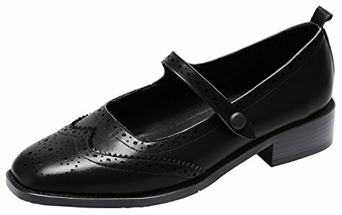 U-lite Women's Perforated Wingtip Brogues Vintage Snaps Closure Leather Flat Mary Jane Flats shoesBlack6 by U-lite
