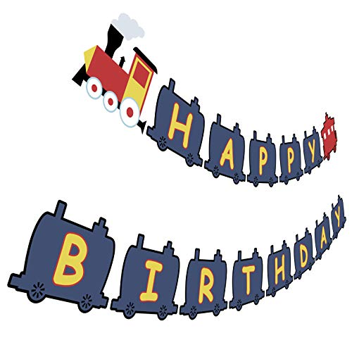 Train Birthday Banner, Railroad Bday Party Sign, Steam Train Happy Birthday Bunting Decorations