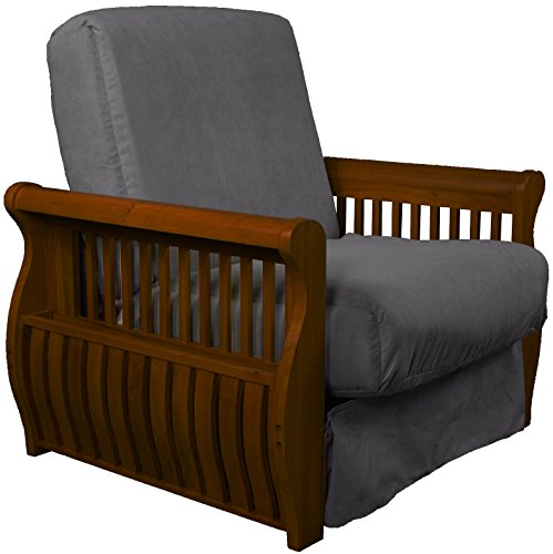 Chair Walnut Futon - Laguna Perfect Sit & Sleep Pocketed Coil Inner Spring Pillow Top Chair Sleeper Child-size Bed, Chair-size, Walnut Arm Finish, Microfiber Suede Slate Grey Upholstery
