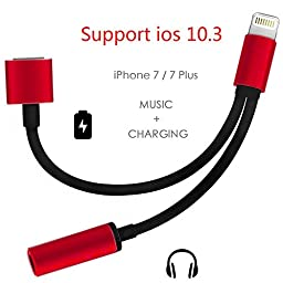 Support iOS 10.3 - Lightning to 3.5mm Audio Adapter, Betteck 2A 2 in 1 Lightning Charger and 3.5mm Earphones Jack Cable for Apple iPhone 7 7 Plus 6S 6 iPod iPad (Lightning- Red)