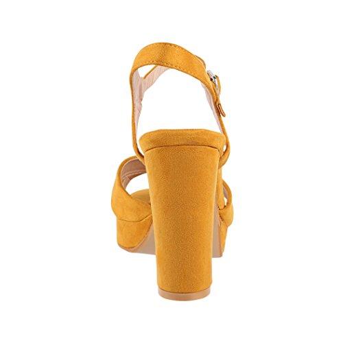 Elara Damen Pumps | Bequeme Peep-Toe Sandalette | Trendige Plateau High Heels | Chunkyrayan Gelb (fällt kleiner aus)