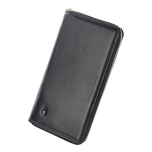 (DCRYWRX Men's Wallet Charging Clutch Bag Bluetooth Smart Wallet Smartphone Zip Wallet Case Clutch Purse Charger Wallet Handbag Power,Black)