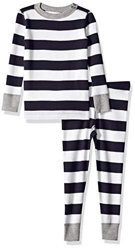 Moon and Back Toddler Kids Organic 2-Piece Pajama, Navy sea Stripe 3T