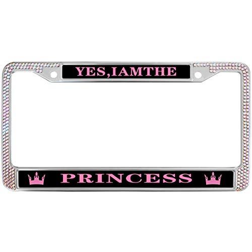(GND Bling Bling License Plate Frame I AM The Princess License Plate Frame Rhinestones Pink,Princess Pink Crown Metal Chrome License Plate Frame for US Vehicles)