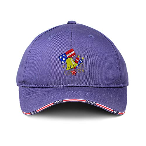 American Flag Hat Patriotic USA Liberty Bell Embroidery Design Cotton Patriotic USA Baseball Cap Strap Closure Blue Design Only (Bell Patriotic Liberty)