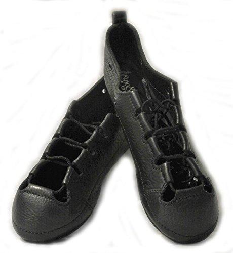 Ryan and Odonnell Girls Soft Gel Black Leather Irish Dance Pumps 3.5 Uk - With FREE Drawstring Bag -