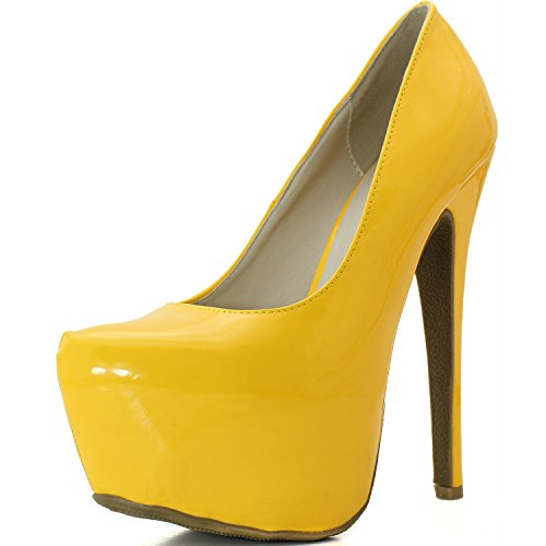 DailyShoes Women's Pointy Toe Hidden Platform Stiletto Pump - Orange Patent, - Orange Pumps Platform