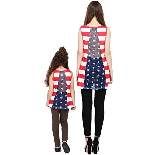L-fannitily 2018 Family Matching American Flag Lace Pocket Stripe Back Lace Top Coat Fashion T-Shirts (10T) by L-fannitily (Image #3)