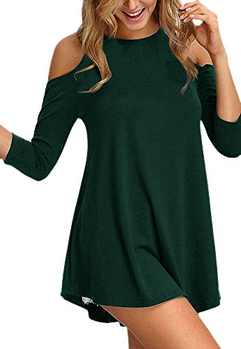 Afibi Womens Cold Shoulder Half Sleeve Swing Tunic Tops for Leggings (Small, Dark Green)