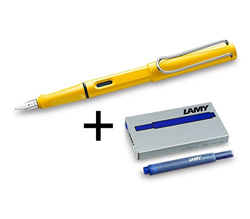 Lamy Safari Fountain Pen Set, Medium Nib + 6 Blue Ink Cartridges (Yellow)