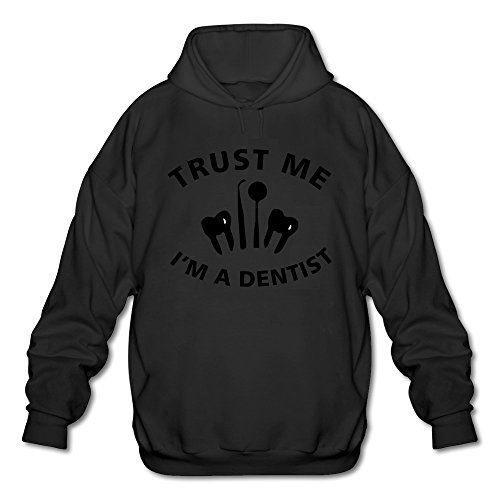 Men's Trust Me I Am A Dentist Long Sleeve Hooded Sweatshirt Medium (Mirror Image Clipart)