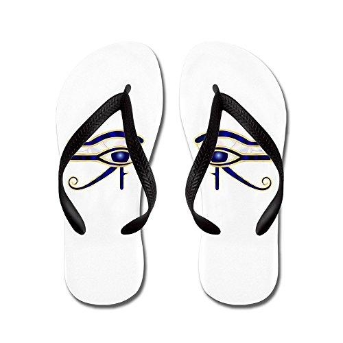 Virkelig Teague Menns Egyptisk Øye Av Horus Eller Ra Gummi Flip Flops Sandaler Svart