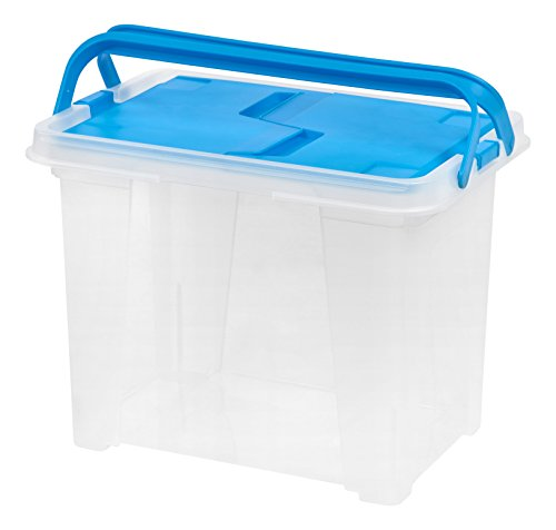 IRIS USA, Inc. WHFB-24 Letter Size Portable Wing Lid File Box, 1 Pack, Blue