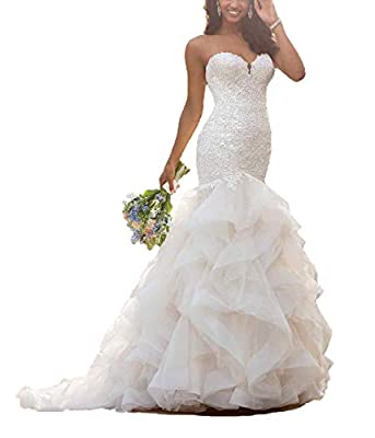 Long Mermaid Wedding Dress with Ruffle Skirt Elegant Lace Appliques Sweetheart Wedding Gown