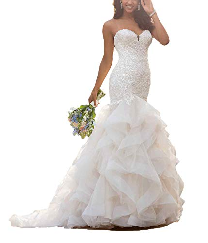 Long Mermaid Wedding Dress with Ruffle Skirt Elegant Lace Appliques Sweetheart Wedding Gown Ivory