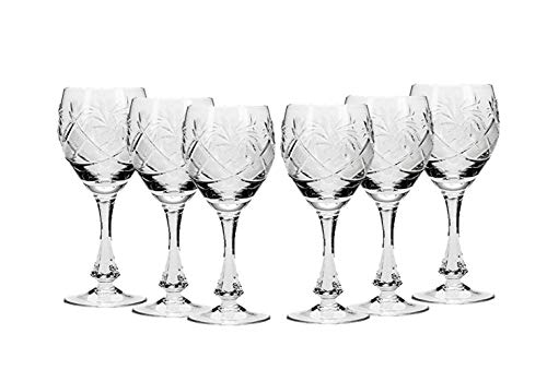 - SET of 6 Russian CUT Crystal Shot/sherry Glasses on a Long Stem 70ml/2.4oz Hand Made
