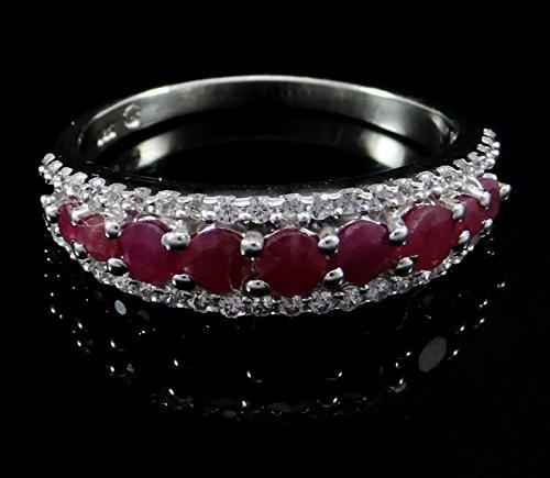 Banithani 925 bijoux de mode anneau femmes ruby ??argent de pierres précieuses design