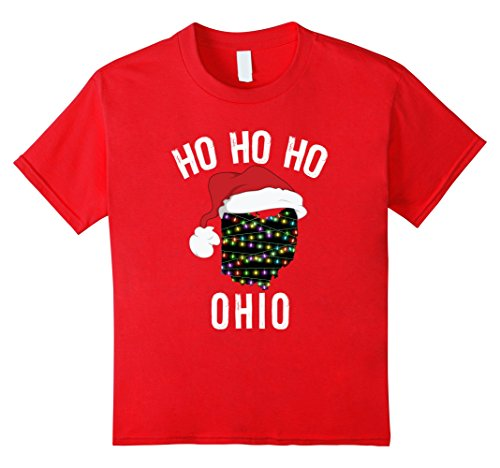 Kids Ho Ho Ho State of Ohio With Santa Hat and Lights T-Shirt 8 (Ohio T-shirt Hat)