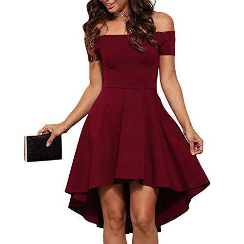 Myobe Femmes Hors Manches Épaule Vintage Robes De Mariée Irrégulière Partie Haute Faible Rouge