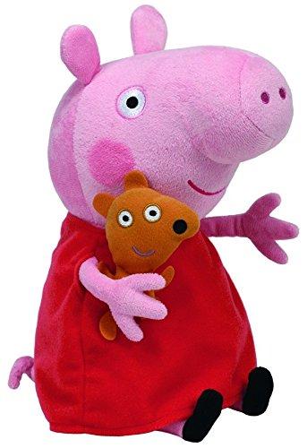 TY 7196230 - Peppa Large - Schwein mit rotem Kleid und Bär, 25 cm 8245