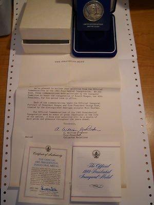 Official 1985 PRESIDENTIAL Inagural Medal 999 fine silver Franklin Mint box COA ()