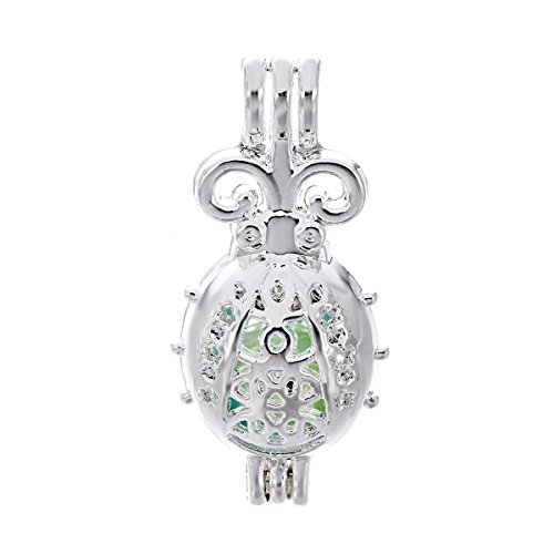 (10pcs Silver Pearl Cage Beads Cage Locket Pendant Aroma Essential Oil Diffuser Locket DIY Necklace Earrings Bracelet Jewelry Making Supplies (Ladybug))