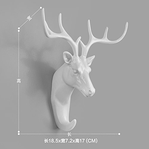 Faraway Resin Hanger Animal Head Modeling Creative Deer Head Animal Coat Hooks Decorative Wall Crafts (White)