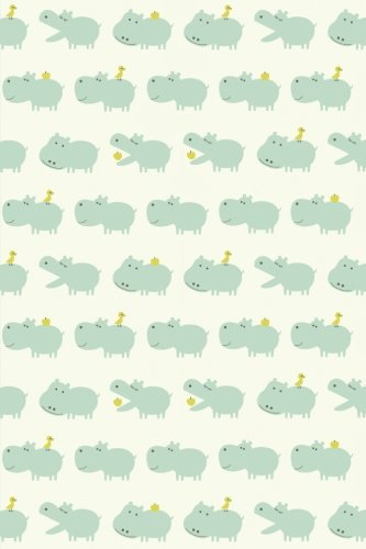 Sketchbook: Baby Hippos (Green) 6x9 - BLANK JOURNAL NO LINES - unlined, unruled pages (Baby Animals Sketchbook Series)