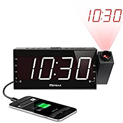(Upgraded Version)Mesqool AM/FM Digital Dimmable Projection Alarm Clock Radio with 1.8 LED Display,USB Charging,Dual Alarm,Battery Backup