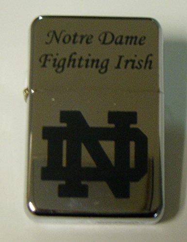 Notre Dame logo engraved Chrome Plated Brass Refillable Lighter in black tin case