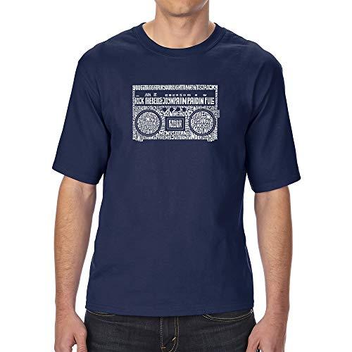 (LA POP ART Men's Tall and Long Word Art T-Shirt - Greatest Rap Hits of The 1980's Navy)