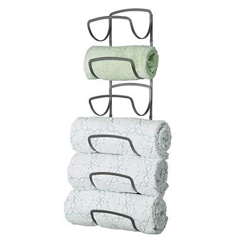 (mDesign Modern Decorative Six Level Bathroom Towel Rack Holder & Organizer, Wall Mount - for Storage of Bath Towels, Washcloths, Hand Towels - Graphite Gray)